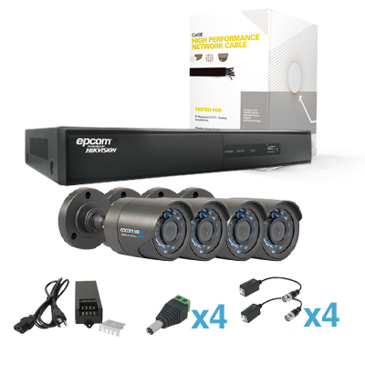 Sistema HDX con 4 HRB900(900+TVL, WDR, Exterior,IR Inteligente), EV1004HDX, 305m Cable Cat5e LinkedPRO, Fuente de Poder Profesional, Transceptores TITANIUM.